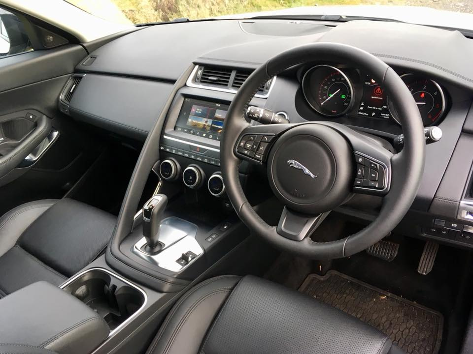 the interior of the jaguar e pace changing lanes. Black Bedroom Furniture Sets. Home Design Ideas