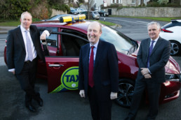 Pictured at the SPSV Grant Launch l-r CEO of Nissan Ireland, James McCarthy, Minister for Transport, Tourism and Sport Shane Ross and Alan Nolan Director General SIM