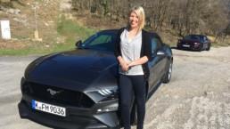 Caroline Kidd testing the Ford Mustang in France