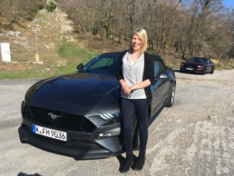Caroline Kidd testing the Ford Mustang in France