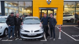 Joe, Luke, David, Ben with the 2006 Renault Clio that's going to take them from Mayo to Mongolia!