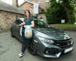 Katie Taylor with her new Honda Civic
