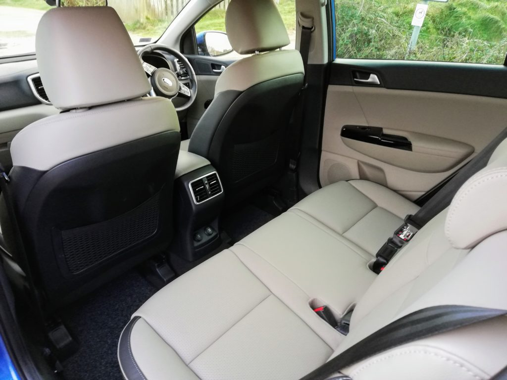 Rear seating space in the Kia Sportage