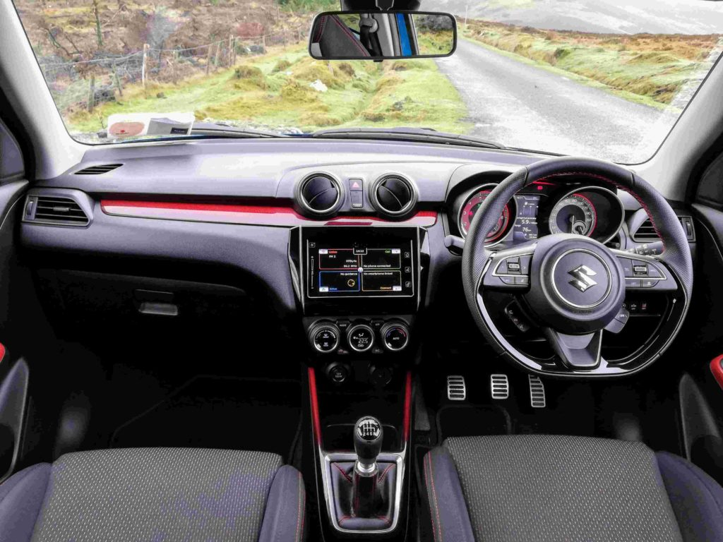 The interior of the new Suzuki Swift Sport