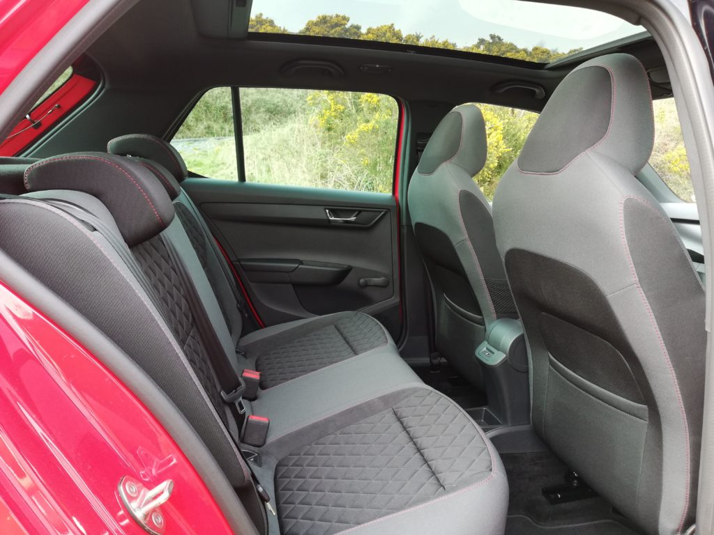 Rear legroom in the Skoda Fabia Monte Carlo