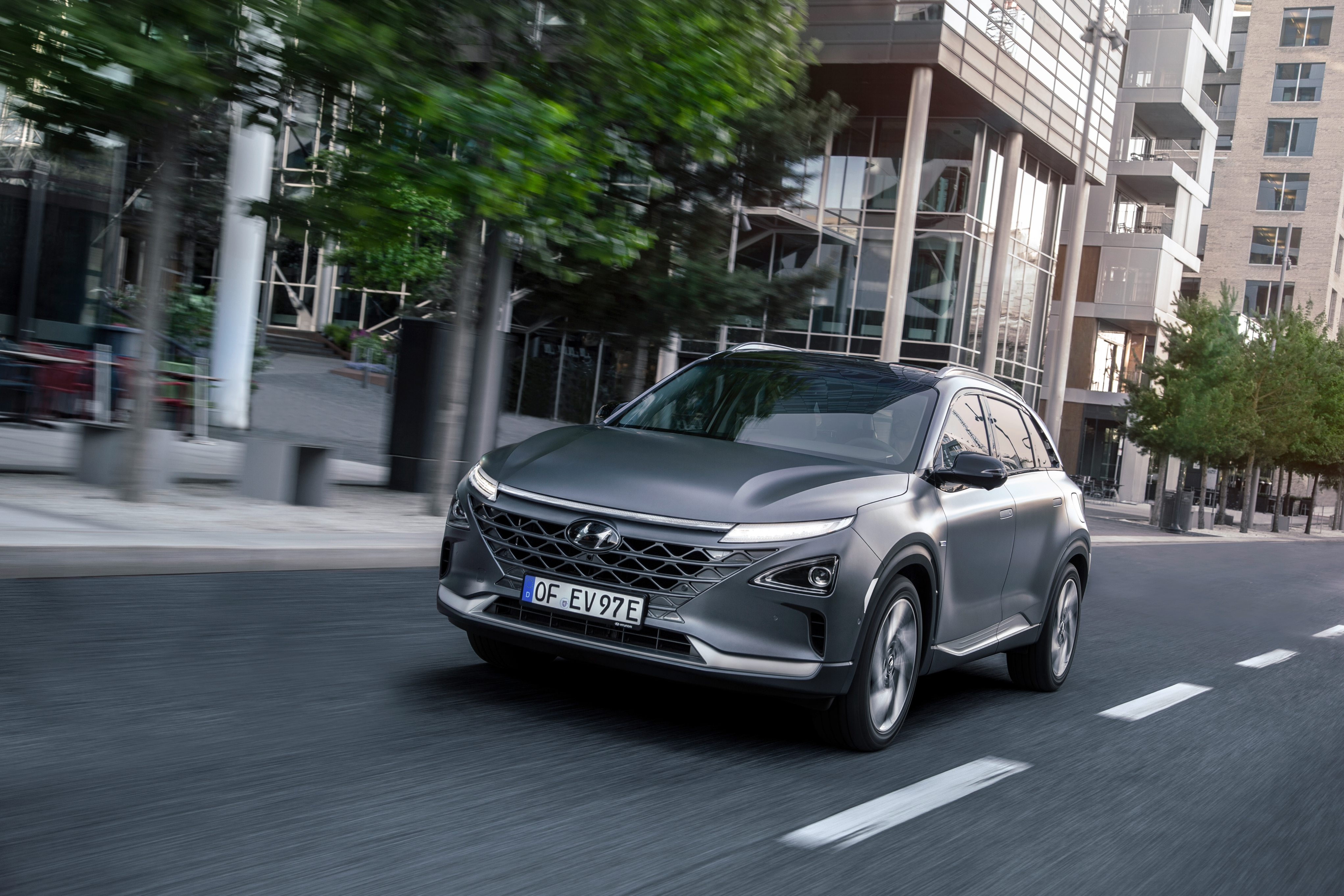 The Hyundai Nexo is a hydrogen fuel cell powered crossover SUV