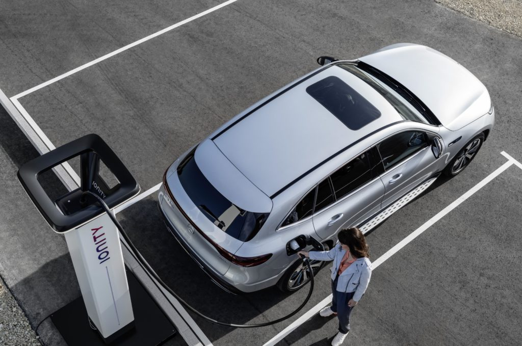 A fast charge can increase battery power in the new EQC from 10 to 80 percent in just 40 minutes.