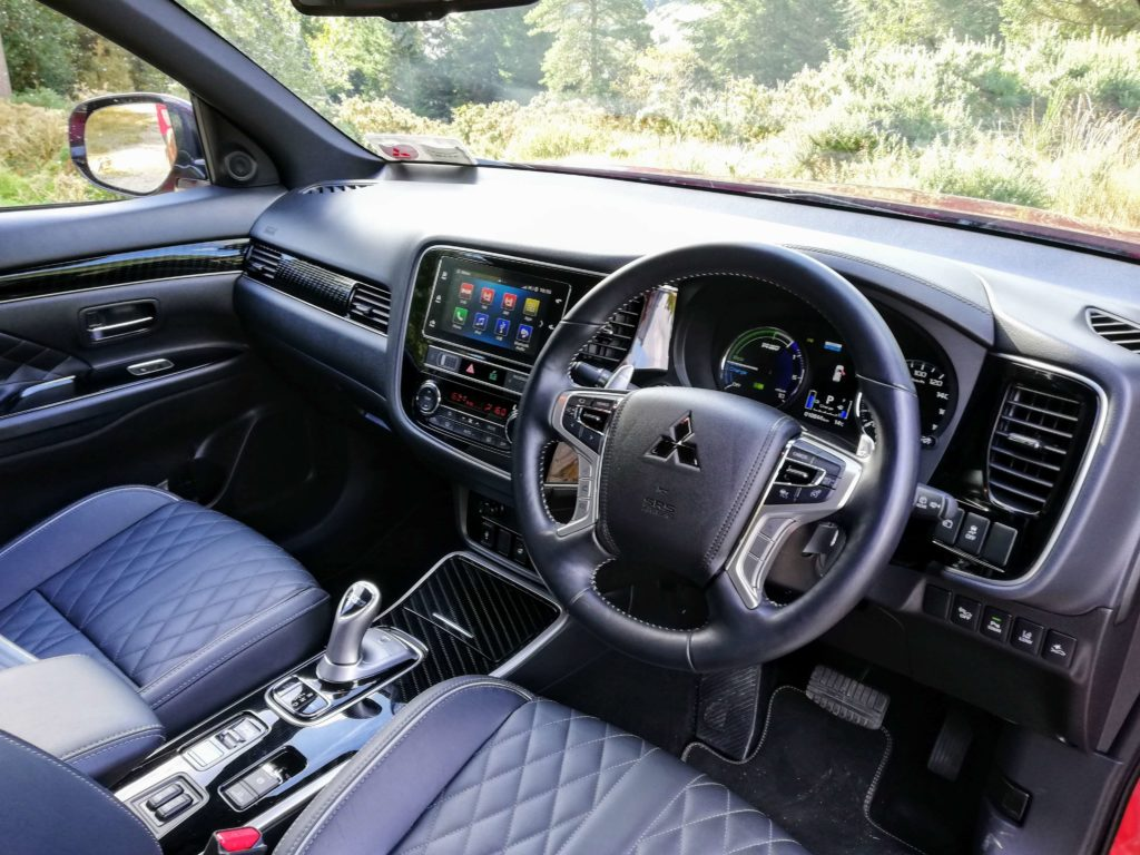 The interior of the 2019 Mitsubishi Outlander PHEV
