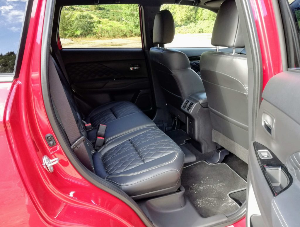 Rear seating in the Mitsubishi Outlander PHEV