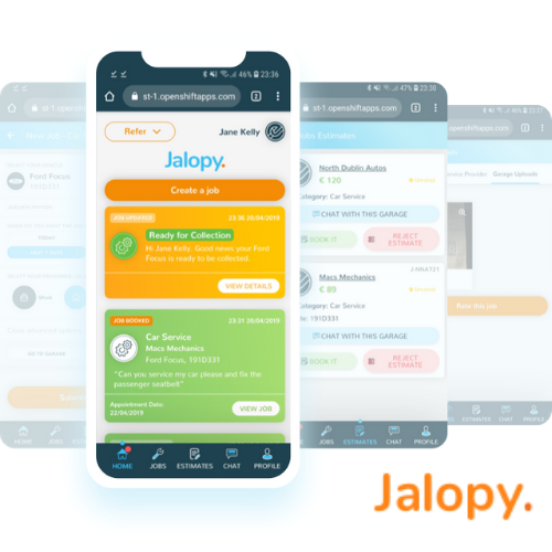 The Jalopy app is simple and easy to use for car owners and garages