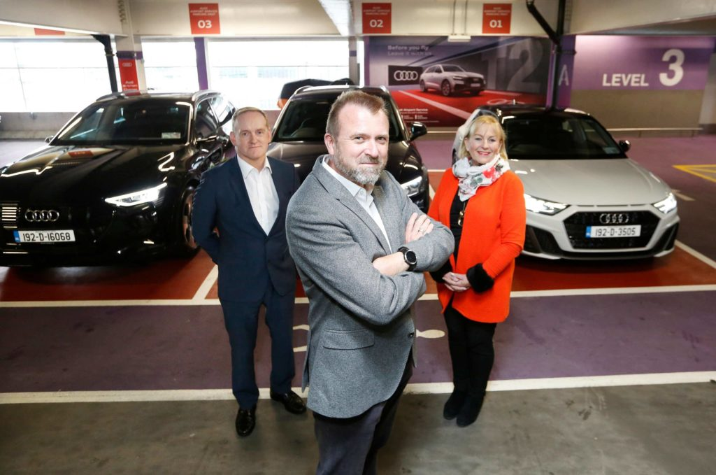 Pictured at the launch were; Thorsten Godulla, Managing Director, Audi Ireland (front), John Sisson, Head of Commercial Car Parks, Dublin Airport and Loreto O'Byrne, Head of Advertising Sales, Dublin Airport
