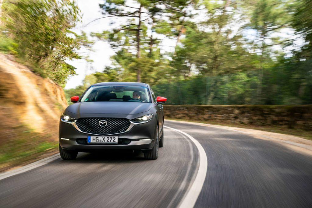 The new Mazda EV prototype in action in Sintra, Portugal