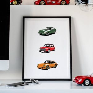 Exclusive print of your car ir cars with the new Draw Your Ride product from Rear View Prints