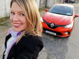 Caroline and the new Renault Clio in Valencia Orange!