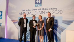 Professor Denis Cusack of the Medical Bureau of Road Safety receiving his award at the SIMI Motor Industry Awards 2020