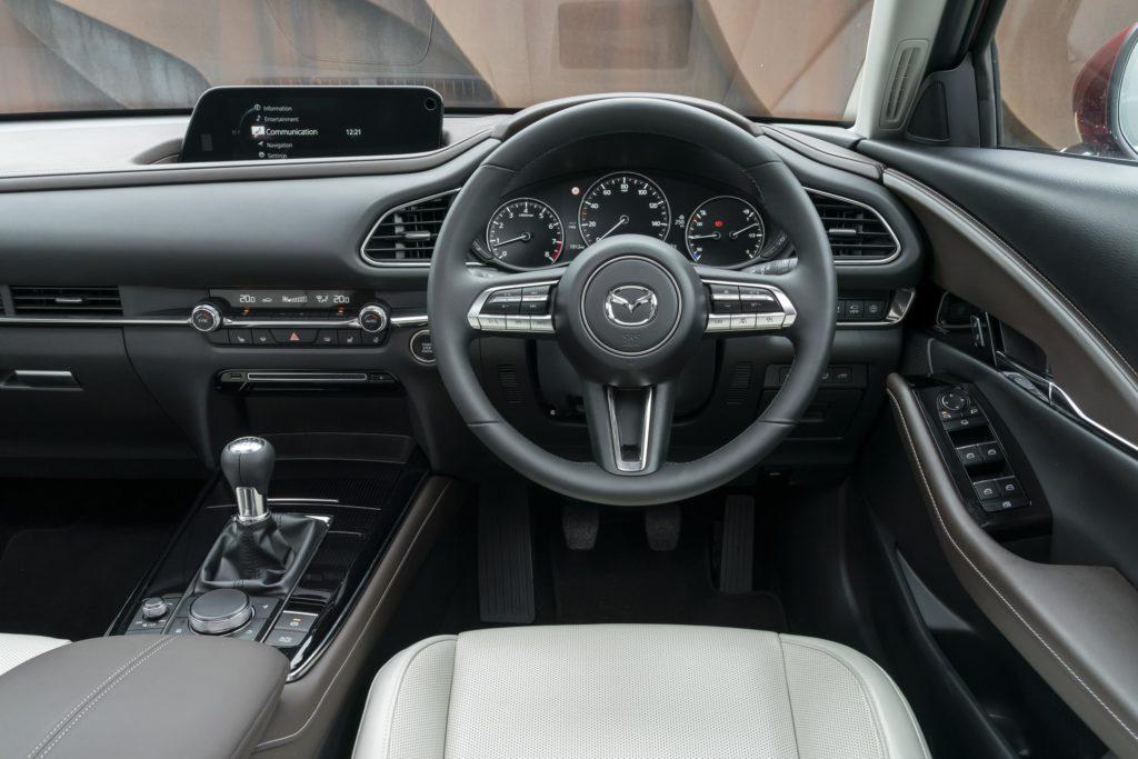 The interior of the 2020 Mazda CX30