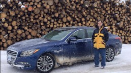 Chris and the Hyundai Genesis at a drive event near Quebec City