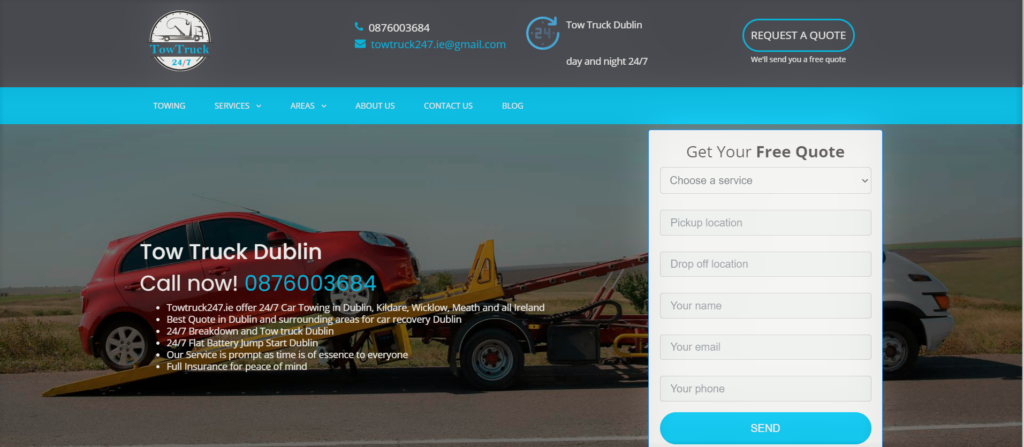 You can request a quote online from TowTruck247