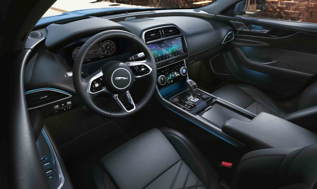 The interior of the Jaguar XE Chequered Flag
