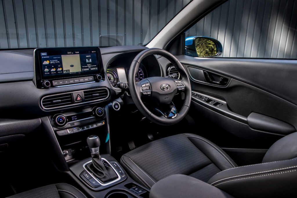 The interior of the 2020 Hyundai Kona Hybrid