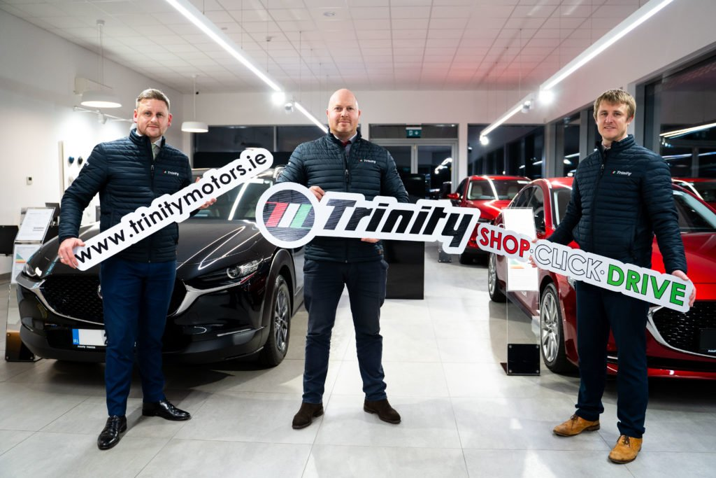 Jamie Dunphy, James Murphy and Shane Sinnott of the Trinity Mazda Sales Team, launching new online services for customers to engage with
