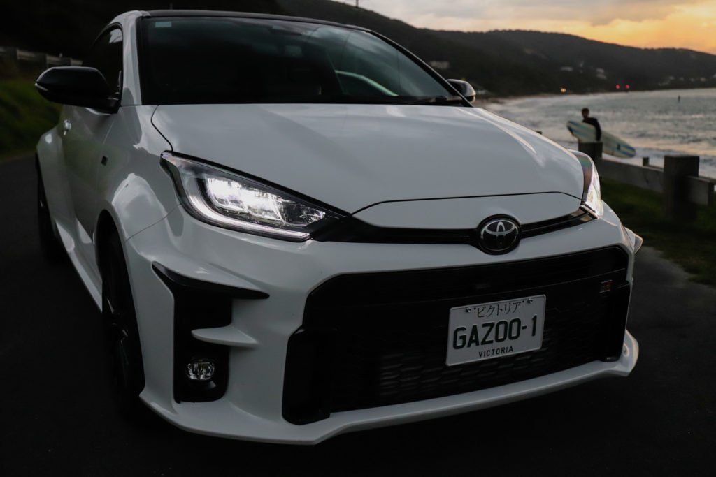 The Toyota GR Yaris in chill by the sea mode