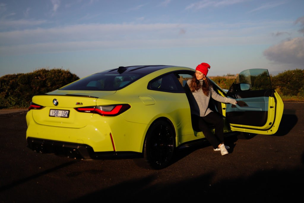 Andrea on location with the new BMW M4