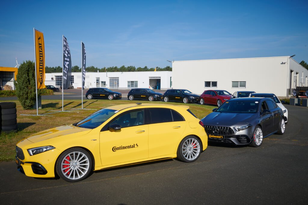 Fleet of Mercedes-Benz A45 S at the Contidrom wet handling track