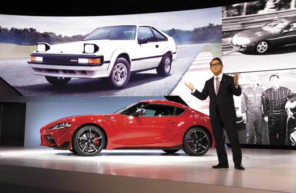 Toyota President Akio Toyoda with the new Supra